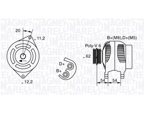 Alternatore Alfa Romeo, Fiat, Lancia, 100 A, 62 mm