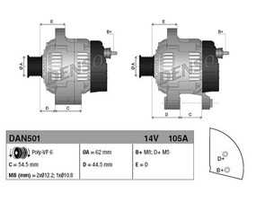 Alternatore Alfa Romeo, Fiat, Lancia, 105 A, 62 mm
